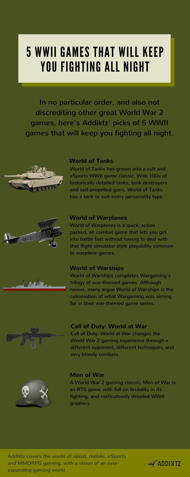 5 WWII Games That Will Keep You Fighting All Night | War Games Infographic